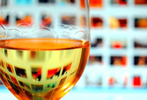 A glass of white wine.