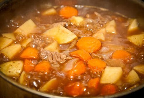Photo of beef stew simmering.