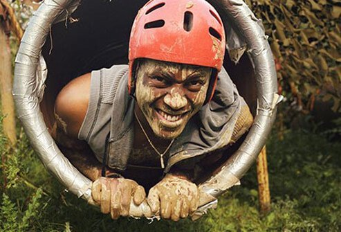 Photo of muddy obstacle course.