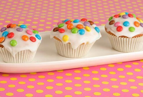 Cupcakes with candy sprinkles.
