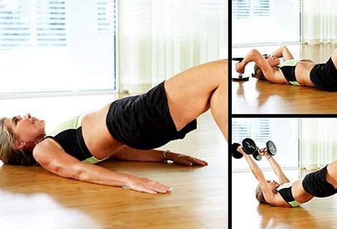 The bridge works the glutes (butt), hamstrings, and core.