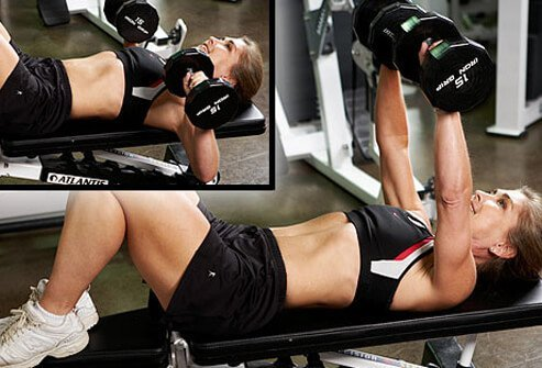 For a less demanding exercise than push-ups, you can try the chest press with weights.