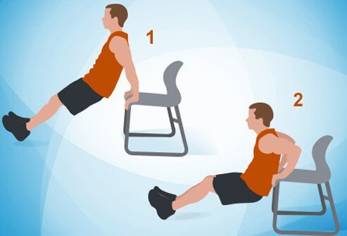 An illustration of a triceps dip on a chair exercise.