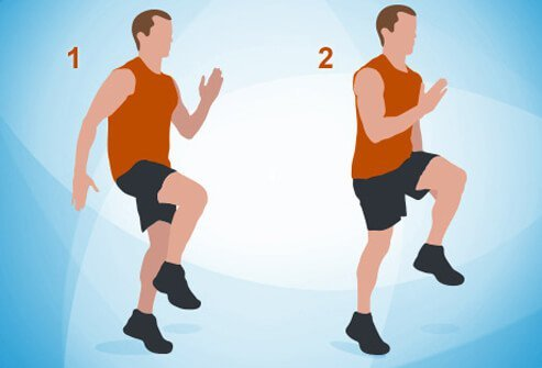 An illustration of high knees exercises.