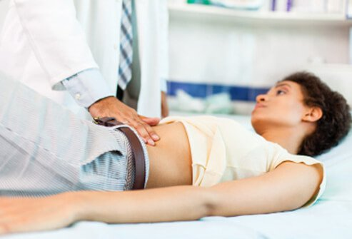 A doctor can perform a physical exam and run necessary tests to diagnose the cause of abdominal pain.