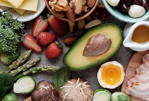 Eggs, avocados, and fresh meat, fish, and produce are part of the paleo eating plan.