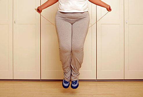 A woman with a vitamin D deficiency jumping rope.