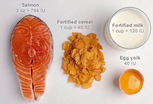 Vitamin D rich foods: salmon, cereal, milk, and egg yolk.