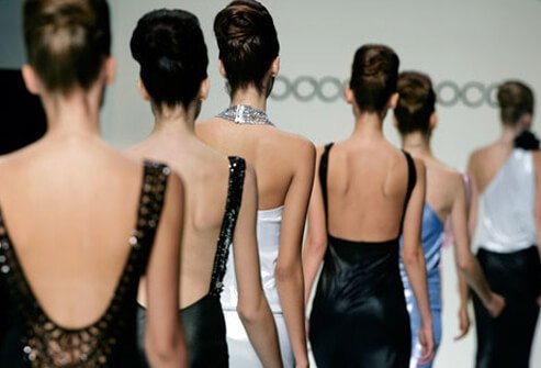 Fashion models walk on the catwalk.
