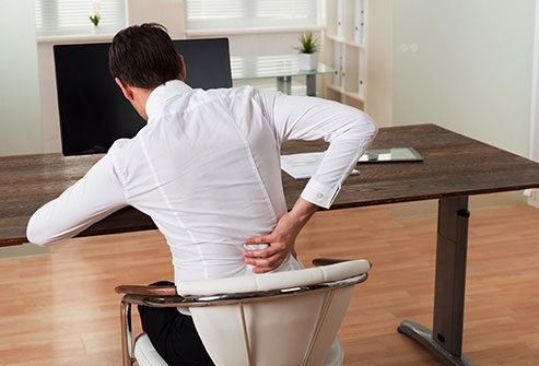 Sitting too long, along with slouching, stresses your back muscles, neck, and spine.