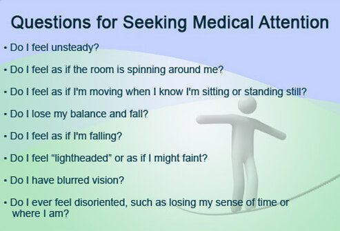 A list of questions to help determine if you should seek medical attention after a dizzy spell.