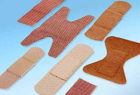 Bandages come in different shapes so they can accommodate areas like fingers, heels, and knuckles.