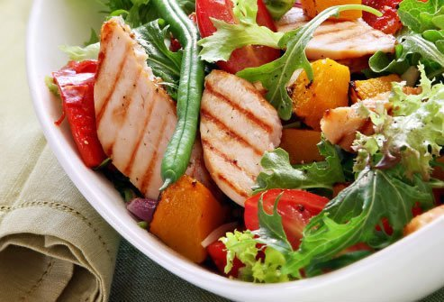A salad of veggies alone will not fill you up for long -- you need protein to fend off hunger.