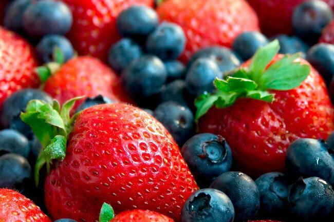 Strawberries and blueberries are high in anthocyanins.