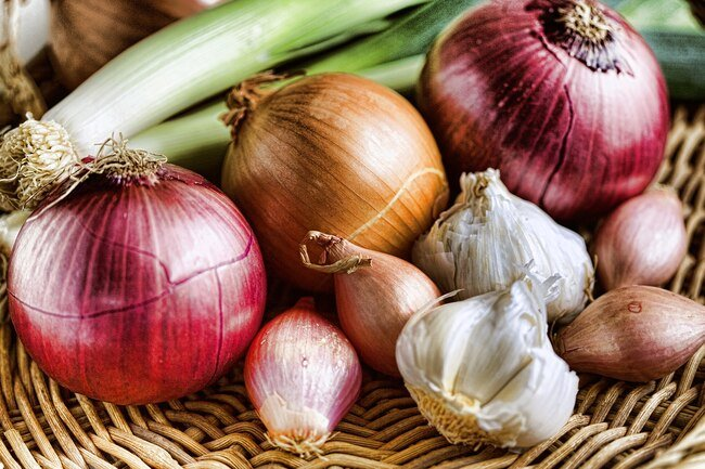 Onions, garlic, honey, pumpkin, and squash are best stored in cool, but not cold environments.