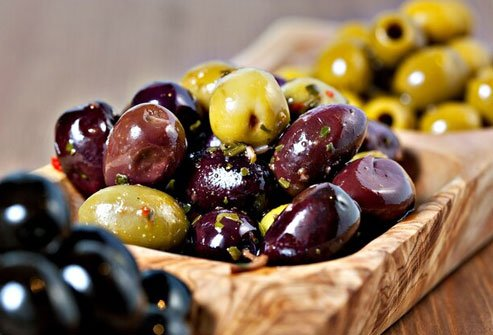 Olives are high in healthy monounsaturated fat and vitamin E.