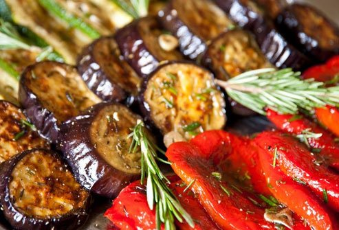 Toss veggies like eggplant, zucchini, bell peppers, and even mushrooms in a bit of olive oil and throw them on the grill.