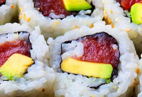Another good source of omega-3s, tuna is a popular choice for sushi, inside a roll or served on top.
