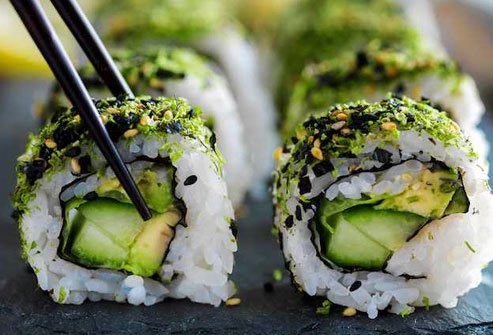Many popular sushi rolls incorporate avocado, often with fish and vegetables but sometimes alone with the rice.