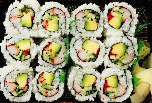 A classic in sushi, the California roll includes rice, nori, avocado, cucumber, and krab.