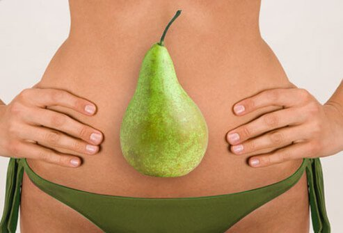 Photo of woman and a pear.