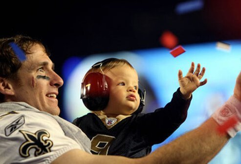 Drew Brees celebrates the Super Bowl.