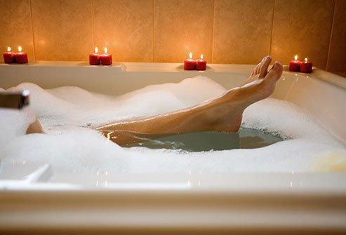 Prepare for bed by taking a warm, relaxing bath.