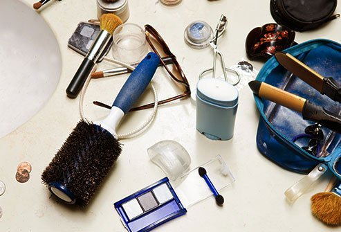 One bathroom counter might have many toothbrushes, shampoos, and skin-care products left out on it, as well as a jumble of makeup and a few stray toothpaste caps.