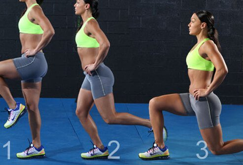 A sequence of a backward lunge exercise.