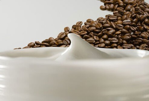 Photo of coffee beans and methylxanthine cream.