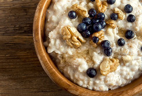 A hot bowl of oatmeal makes a great breakfast.