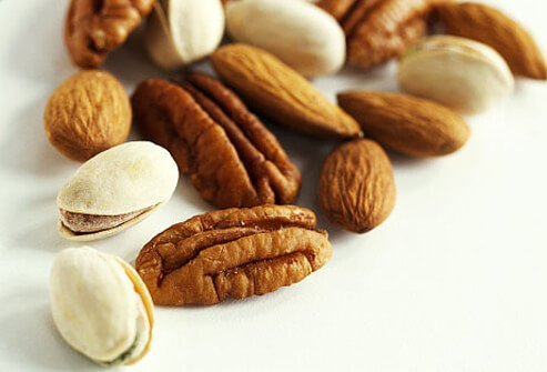 Snack smart: Grab a handful of almonds, walnuts, or pistachios.