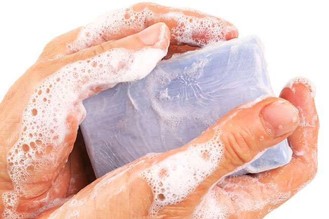 In the bath or shower, limit soap to armpits, groin, feet, hands and face