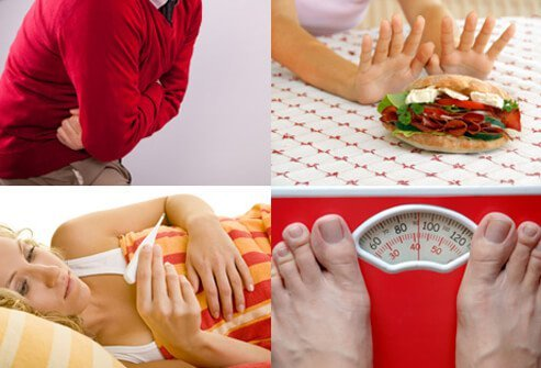 Images of abdominal pain, loss of appetite, fever and weight loss.