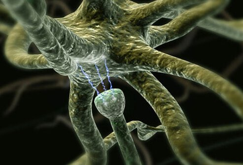 Illustration of neurons (nerve cells) in the brain communicating through neurotransmitters.