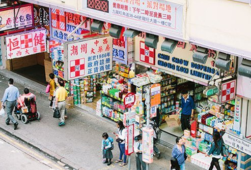 An areal view of a popular Asian pharmacy store front.