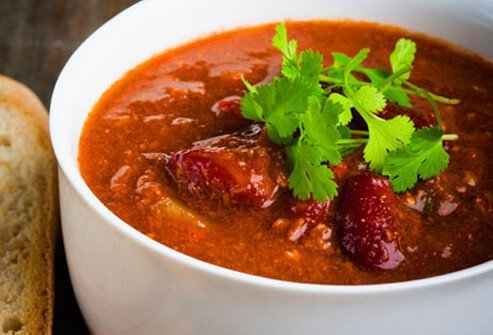 A photo of bowl of chili.