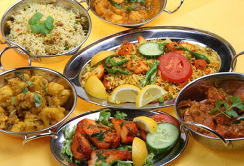 Spicy Indian curry dishes.