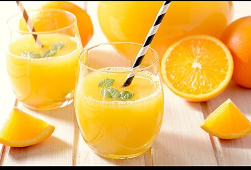 Glasses of orange juice.