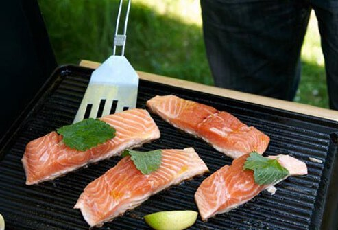 Photo of salmon on grill.