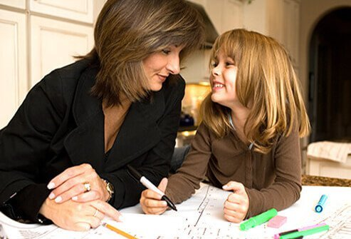 A woman and daughter work on plans.