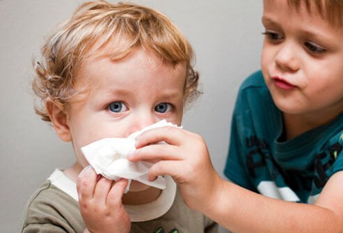 An older brother helps his younger brother clean his nose.