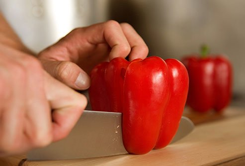Raw red peppers are high in vitamin C.