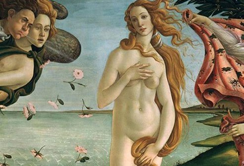 The Venus painted by Italian painter Botticelli.