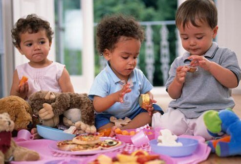 Photo of children eating.