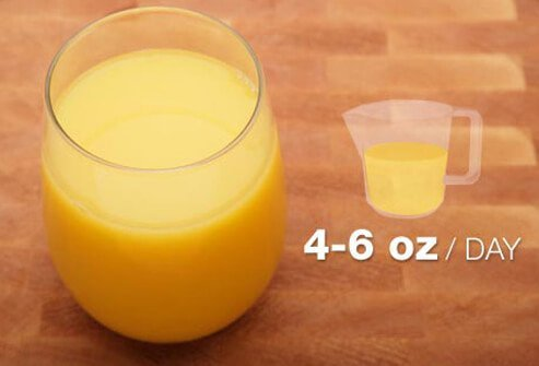 Photo of glass of orange juice.