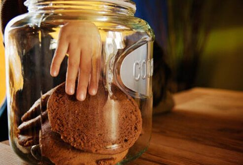 Photo of hand in cookie jar.