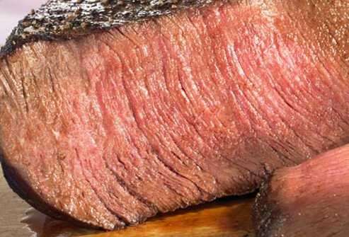 Photo of cut steak.
