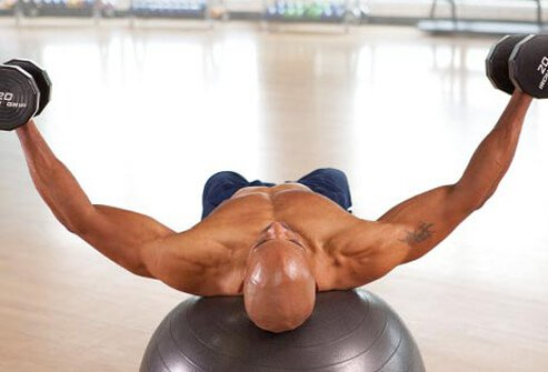 Photo of dumbbell fly exercise.