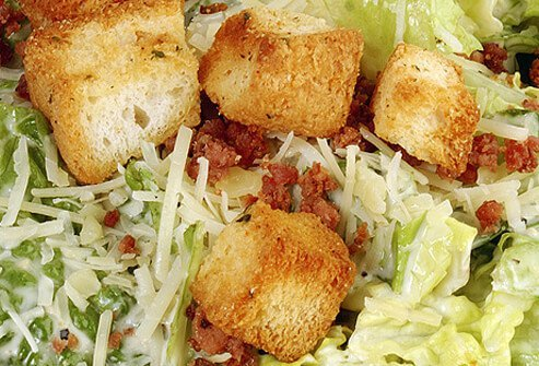 A close up of Caesar salad.